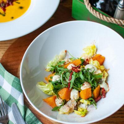 Салат з гарбузом та антіпасті
